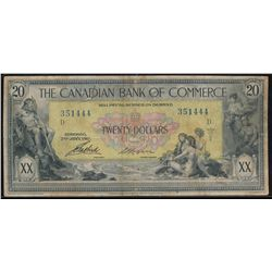The Canadian Bank of Commerce;  20 dollars 1917  #351444 Charlton-75-16-04-20a.  Fine for grade.