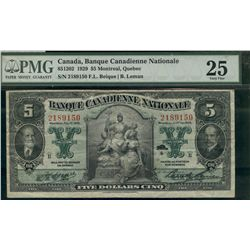 Banque Canadienne Nationale; 5 dollars 1929  #2189150, Charlton-85-12-02 PMG VF25.