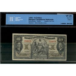 Banque Canadienne Nationale; 10 dollars note 1935, 85-14-04, Wilson Beaudry-Leman, 254624, Letter C,