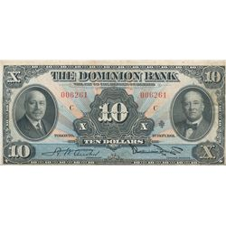 The Dominion Bank of Canada; 10 dollars 1931  #006261, Charlton-220-24-08.  Abt VF for grade.