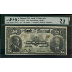 Bank of Montreal; 20 dollars note 1923; 505-56-06, Williams-Taylor Meredith, 134108, Letter C, PMG V