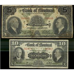 Bank of Montreal; 5 dollars note 1931, 505-58-02, Bog Gordon, 766845, Letter B, VG/F with Rust Spots