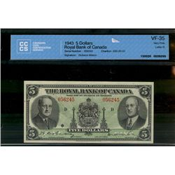 Royal Bank of Canada 5 dollars,00 1943 Charlton # 630-20-02 in VF-35, crisp and clean with vibrant c