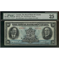 Royal bank of Canada; 20 dollars note 1927, 630-14-12, Wilson Holt, 433512, Letter C, PMG VF-25.