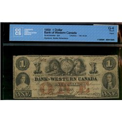 Bank of Western Canada; 1 dollar note 1859, 795-10-04, Buttler Richardson, 263, CCCS G-4; Tears.
