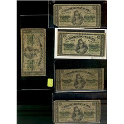 Dominion of Canada; 25 cents note 1870, Dickinson Harington, 1 x DC1b in G-6 Large B, 1 x DC1b-i Sma