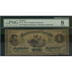 Dominion of Canada; 1 dollar note 1870, DC-2a, Dickinson Harington, 051802, Letter B, Small Date, Pa