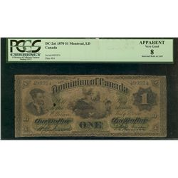 Dominion of Canada; 1 dollar note 1870, DC-2a-i, Dickinson Harington, 499974, Letter B, Large Date,