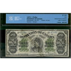 Dominion of Canada; 1 dollar note 1878, DC-8e-ii, Harington, B471002, Letter D, Lettered Border, Pay