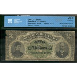 Dominion of Canada; 2 dollars note 1887, DC-11-i, Courtney, 301024, Letter A, CCCS VG-8; Missing Sma