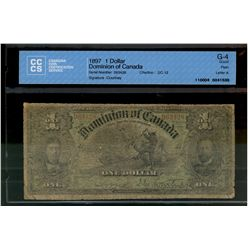 Dominion of Canada; 1 dollar note 1897, DC-12, Courtney, 063428, Letter A, CCCS G-4.