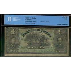 Dominion of Canada; 1 dollar note 1897, DC-12, Courtney, 288734, Letter B, CCCS G-6.