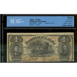 Dominion of Canada; 1 dollar note 1898, DC-13a, Courtney, 223225, ONE's Inward, Series A, Letter C,