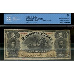 Dominion of Canada; 1 dollar note 1898, DC-13a, Courtney, 660497, ONE's Inward, Series D, Letter D,