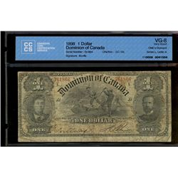 Dominion of Canada; 1 dollar note 1898, DC-13c, Courtney, 761864, ONE's Outward, Series L, Letter A,