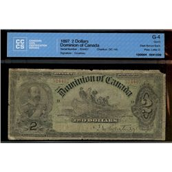 Dominion of Canada; 2 dollars note 1897, DC-14b, Courtney, 524407, Plain, Dark Brown Back, Letter D,