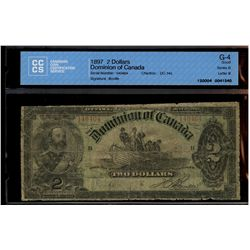 Dominion of Canada; 2 dollars note 1897, DC-14c, Boville, 140464, Series G, Letter B, CCCS G-4.