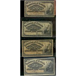 Dominion of Canada; 25 cents note 1900, DC-15a Courtney F-15, DC-15b Boville VF-20 & 2 x DC 15c Saun