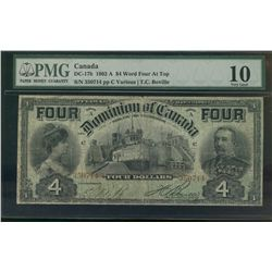 Dominion of Canada; 4 dollars note 1902, DC-17b, Boville, 350714, Series A, Letter C, FOUR at Top, P