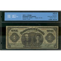 Dominion of Canada; 1 dollars note 1911, DC-18b, Boville, 884683, Green Line, Small Date, Letter C,
