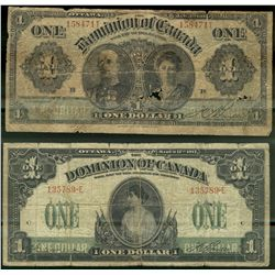 Dominion of Canada; 1 dollars note 1911, DC-18d, Boville, 158471T, Series Letter Follow, No Hyphen,