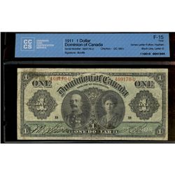 Dominion of Canada; 1 dollars note 1911, DC-18d-i, Boville, 469176-U, Series Letter Follow, Hyphen,
