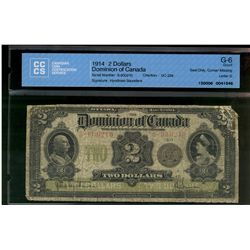 Dominion of Canada; 2 dollars note 1914, DC-22e, Hyndman Saunders, S-600210, Seal Only, Letter D, CC