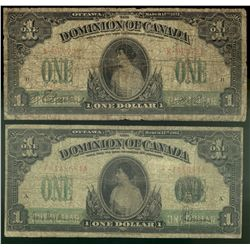 Dominion of Canada; 1 dollar note 1917, DC-23a-ii, Boville, K-962723, No Seal Only, Imprints, Letter