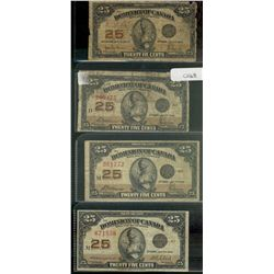 Dominion of Canada; 25 cents note 1923; DC24a Hyndman Saunders Authorized 0015857 G-4, 2 x DC-24c Mc