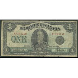 Dominion of Canada; 1 dollar note 1923, DC-25a, Hyndman Saunders, C-793759, Black Seal, Group 1, Let