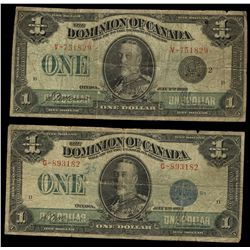 Dominion of Canada; 1 dollar note 1923, DC-25c, McCavour Saunders, G-893182, Green Seal, Group 1, Le