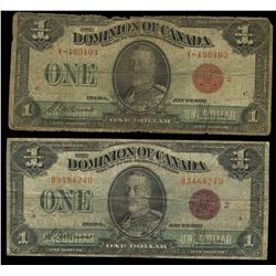 Dominion of Canada; 1 dollar note 1923, DC-25g, McCavour Saunders, Y-490403, Red Seal, Group 2, Lett