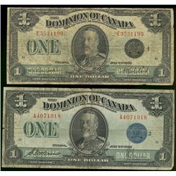 Dominion of Canada; 1 dollar note 1923, DC-25h, McCavour Saunders, A4071918, Blue Seal, Group 2, Let