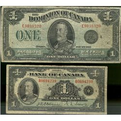 Dominion Bank  of Canada; 1 Dollar note, 1923, DC-25o and Bank of Canada 1 Dollars 1935 BC-1.  Lot o