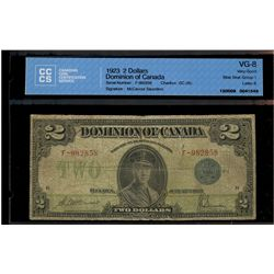 Dominion of Canada; 2 dollars note 1923, DC-26c, McCavour Saunders, F-982858, Blue Seal, Group 1, Le