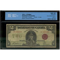 Dominion of Canada; 2 dollars note 1923, DC-26e, McCavour Saunders, K-184358, Bronze Seal, Group 1,