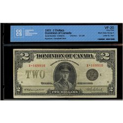 Dominion of Canada; 2 dollars note 1923, DC-26l, Campbell Clark, X-169910, Black Seal, Group 4, Lett