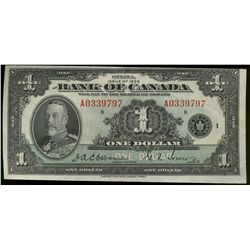 Bank  of Canada; 1 Dollar note 1935, BC-1, A0339797, Crisp EF or better.  Miscut top border.