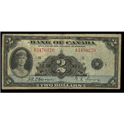 Bank of Canada; 2 dollars note 1935, BC-3, Osborne Towers, A3470270, English, Letter B, VG-8.