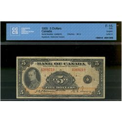 Bank of Canada; 5 dollars note 1935, BC-5, Osborne Towers, A369210, English, Letter A, CCCS F-15.