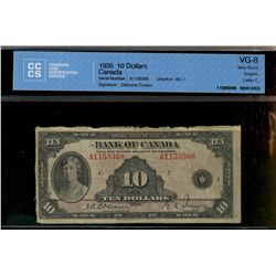 Bank of Canada; 10 dollars note 1935, BC-7, Osborne Towers, A1159368, English, Letter C, CCCS VG-8.