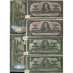 Bank  of Canada; 1 Dollars 1937(3), 10 Dollars(2).  Lot of 5 notes F to EF.