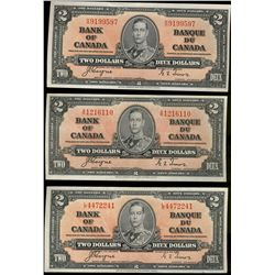 Bank  of Canada; 2 dollar notes 1937, BC-22c, Coyne-Towers.  Lot of 3 notes EF or Better.