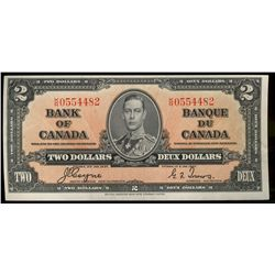 Bank  of Canada; 2 dollars note 1937, BC-22c, 0554482, Coyne-Towers, AU.