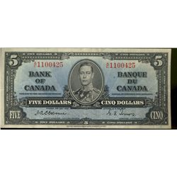 Bank  of Canada; 5 dollars 1937 note, BC-23a, Osborne-Towers, 1100425, VF-20