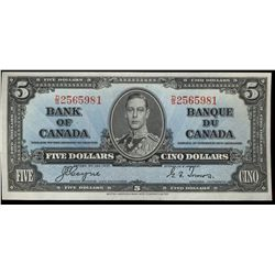Bank  of Canada; 5 dollars 1937 note, BC-23c, 2565981, Coyne-Towers, Choice AU.