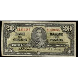Bank  of Canada; 20 Dollar note 1937, BC-25a, Osborne-Towers, 1209485, Fine.