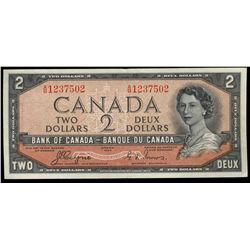 Bank  of Canada; 2 Dollars 1954 Devil Face, BC-30a, 1237502, Coyne-Towers, EF.