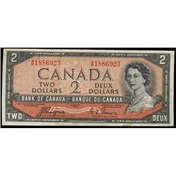 Bank  of Canada; 2 Dollars 1954 Devil Face, BC-30a, 1886923, Coyne-Towers, VF-EF.