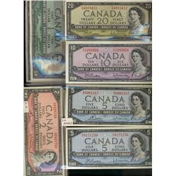 Bank  of Canada; 1 Dollar 1954 notes.  Lot of 12 notes EF to UNC.